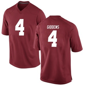 Youth Daniel Giddens Nike Alabama Crimson Tide Youth Game Crimson Football College Jersey